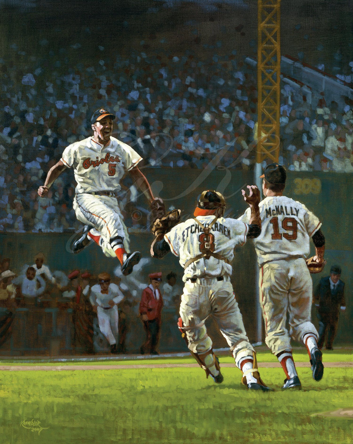 The Final Out Of The 1966 World Series Baseball Painting Baseball Art Baltimore Orioles Baseball