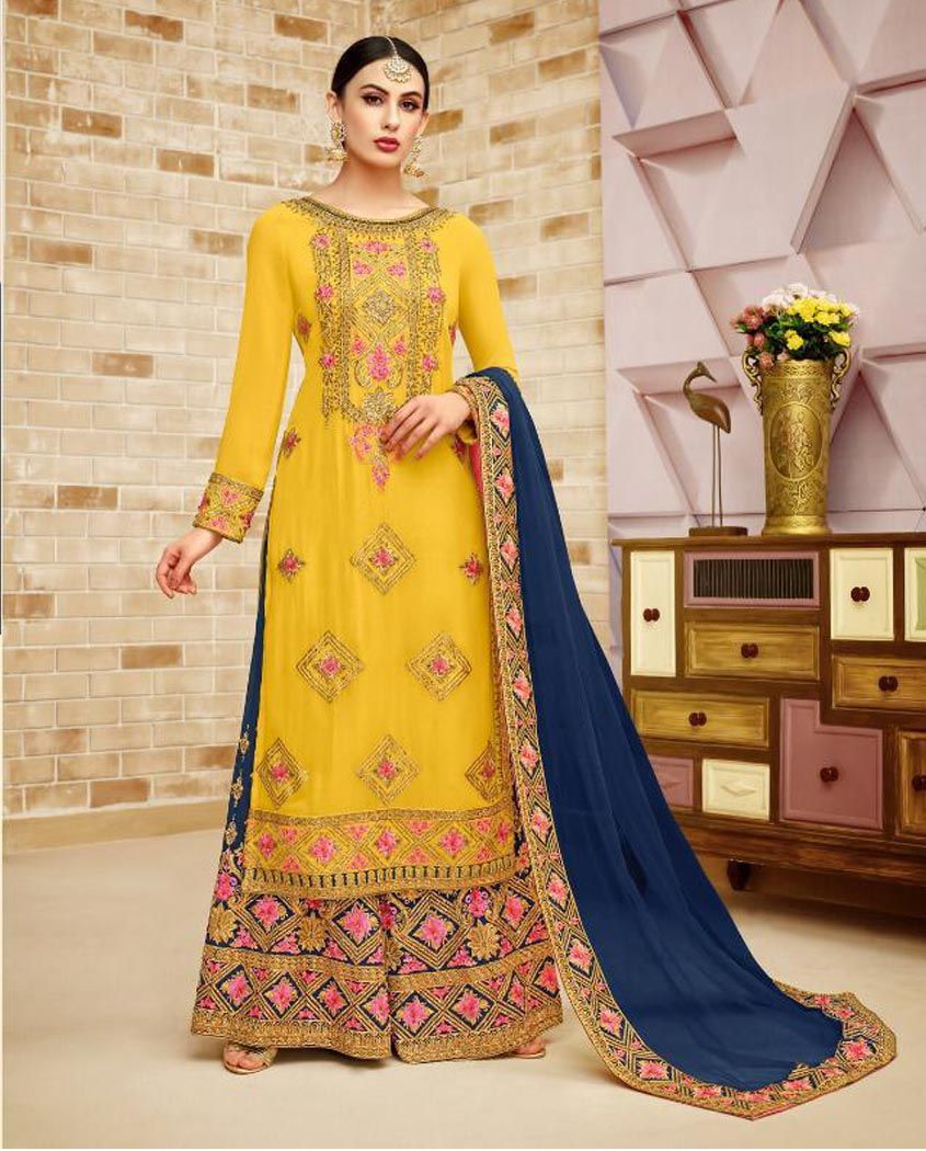 4a0d784bce Buy Yellow Heavy Embroidered Sharara Suit. Shop a Party wear designer  Sharara Suit online, Purchase a Designer Sharara Suit at Best price