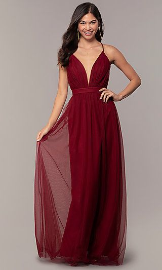 d98b101ba5c0 Gathered-Bodice V-Neck Long Prom Dress by Simply in 2019