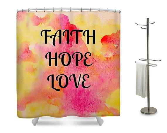 Faith Hope Love Designer Shower Curtain Inspirational Decor Designer Shower Curtains Faith Hope Love Decor Inspiration