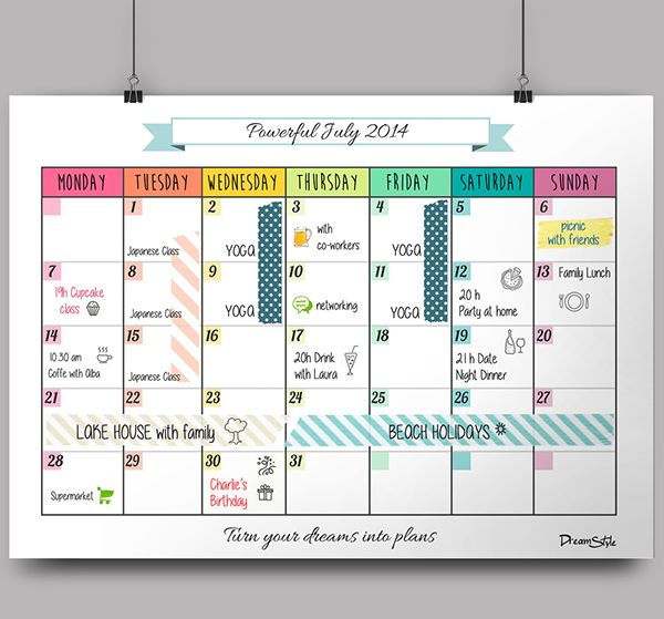 monthly planning calendar template