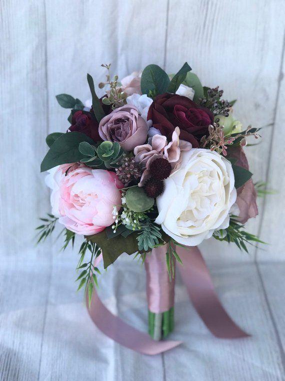 Staubige rose Bouquet, erröten und Dusty Rosa Bouquet, Mauve und Burgund Bouquet, Hochzeitsstrauß, erröten und Burgund Bouquet, Boho Bouquet