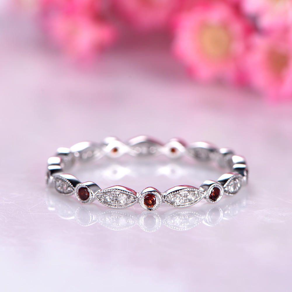 Diamond wedding band garnet ring art deco diamond matching band ...