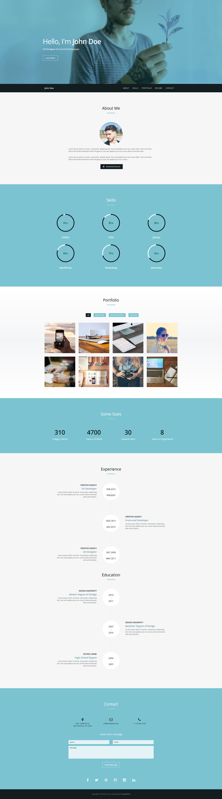 Verum is a free one page HTML resume / CV template built with ...