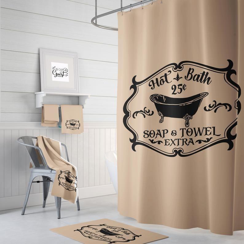 farmhouse bathroom decor shower curtain