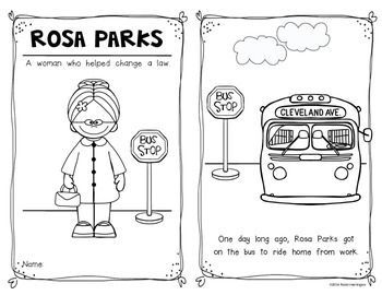 Rosa Parks Emergent Reader For Kindergarten And First Grade