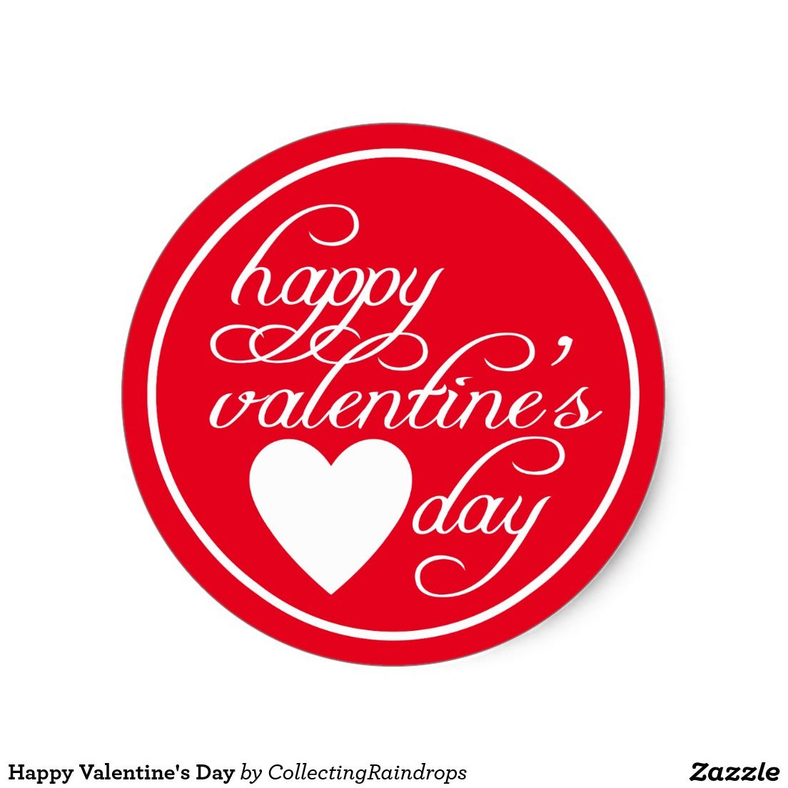 Happy Valentine S Day Classic Round Sticker Zazzle Com In 2021 Valentine Paper Crafts Happy Valentine Happy Valentines Day