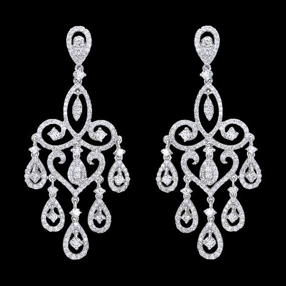 Red Diamond Chandelier Earrings: 5 Carat LARGE Diamonds Chandelier Earrings White Gold
