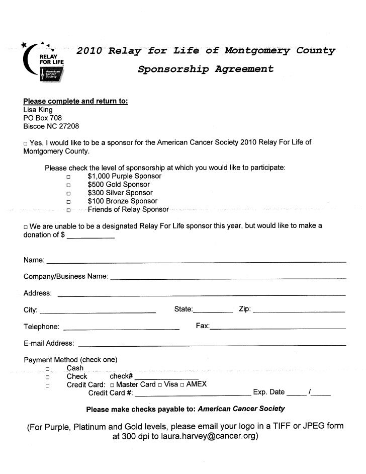Sponsorship Agreement  Printables    Fundraising