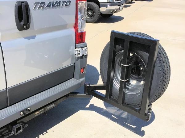 Promaster Tire Rack Swing Away Van Upgrades Tire Rack Spare Tire Spare Tire Mount