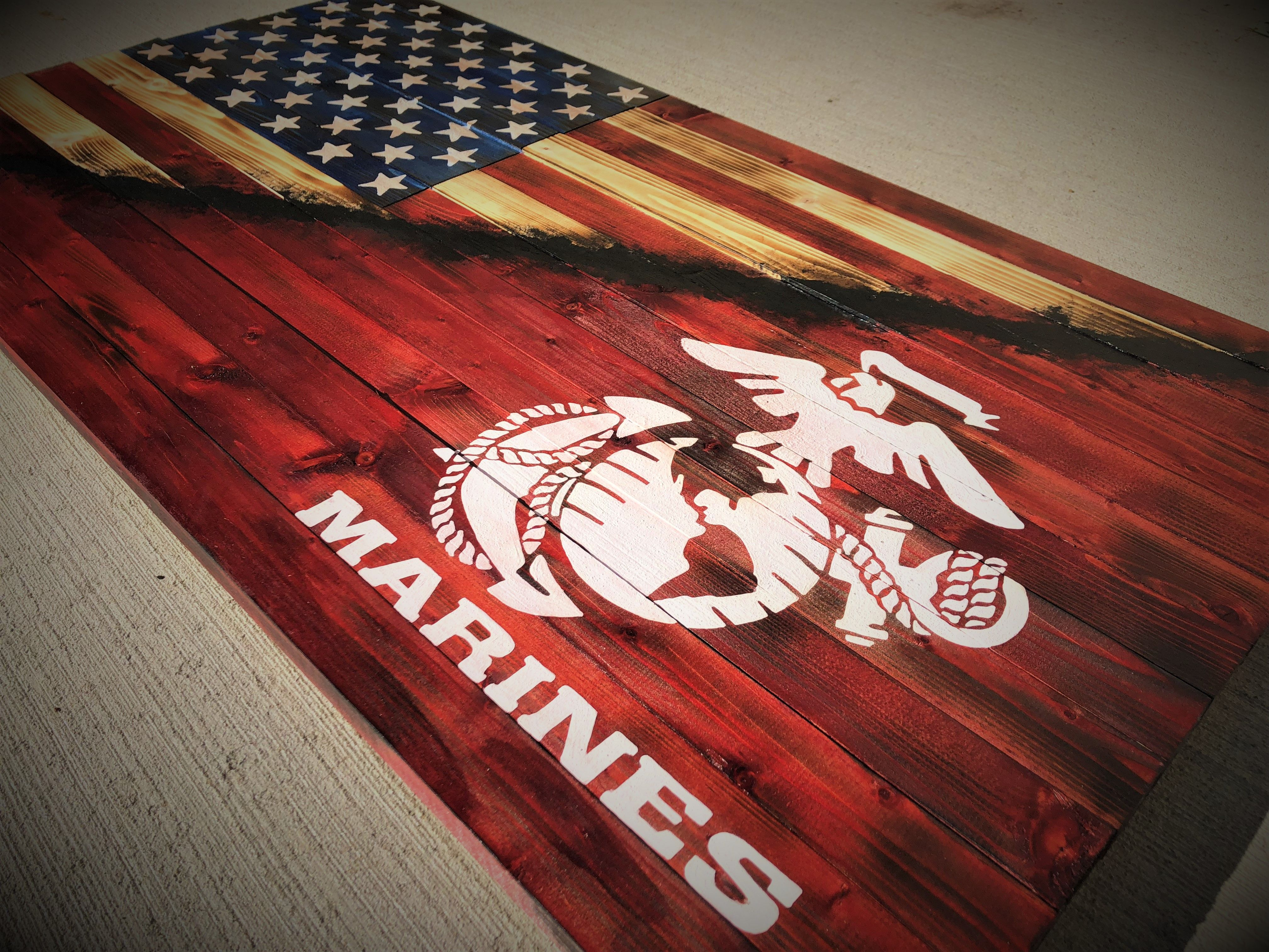 American marine flag marines wooden flag wooden