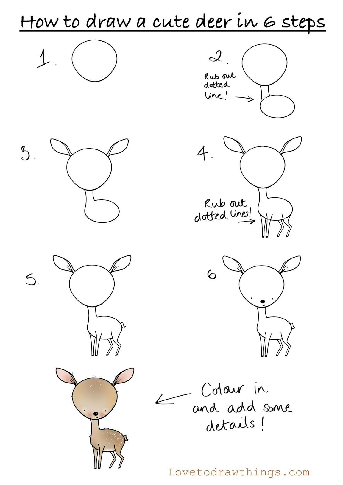 How to draw a cute deer in 6 steps
