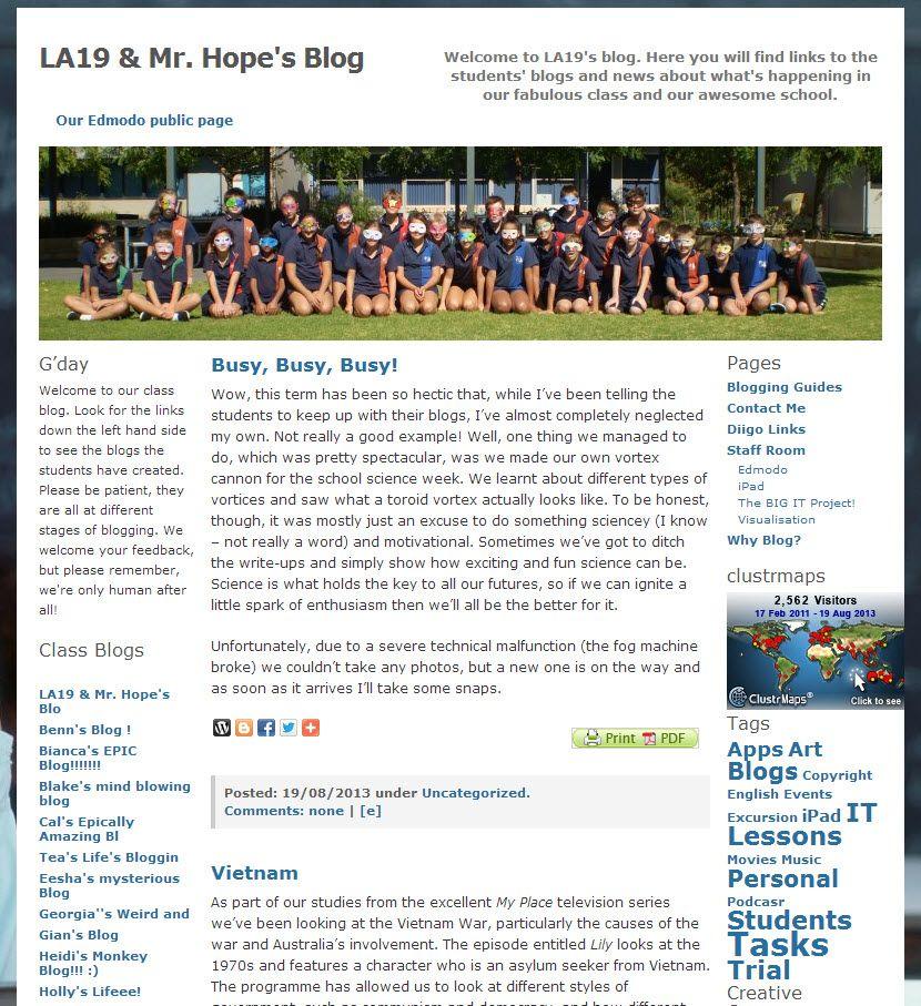 La19 Mr Hope S Blog Blog Class Blogging Guide Student