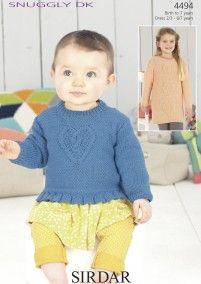 72b5050315ca1 Girls Standard Length and Long Length Sweater in Sirdar Snuggly DK (4494)