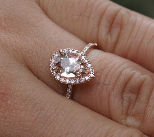 14k Rose Gold 9x6mm Morganite Pear and Diamonds Wedding or Engagement Ring C
