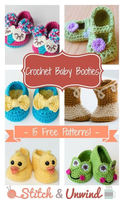 Crochet Baby Booties: 15 Free Patterns | Pinterest | Häkelanleitung ...