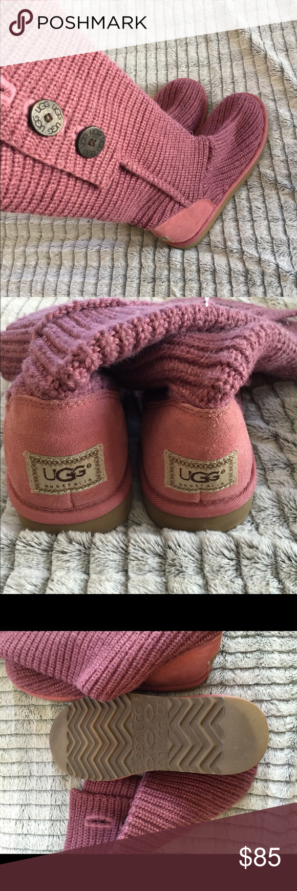 Tall uggs Authentic! Barely worn, tall sweater/button ugg boots UGG Shoes Winter & Rain Boots