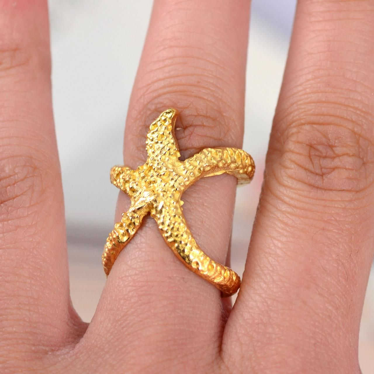 Gold Tone Starfish Fashion Design Rings Jewelry Girl Gift H8432 ...