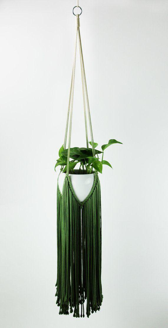 GREEN Macrame, Macrame Plant Hanger, Green Macrame Wall Hanging, Plant Hanger, Macrame Plant Holder, Plant Holder, Dip Dyed Macrame #indoorgarden