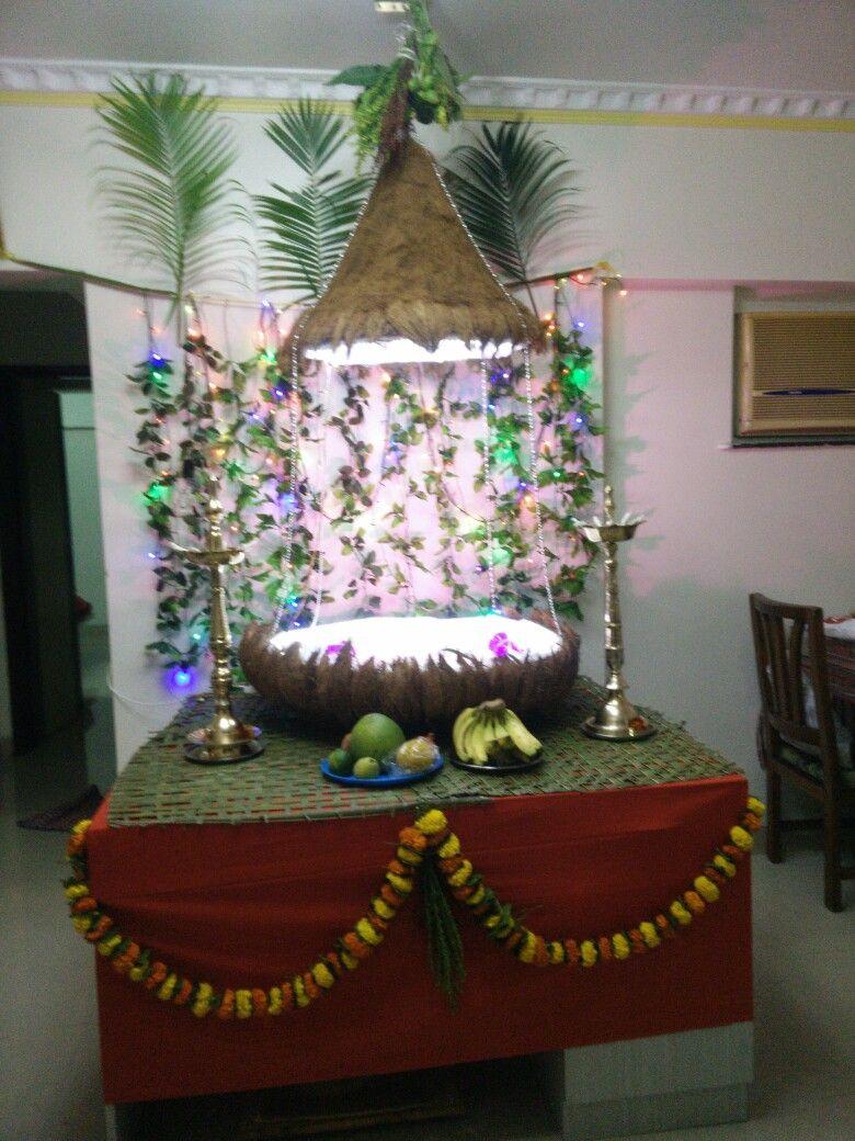 Ganpati decoration coconut theme 2 Ganpati decoration