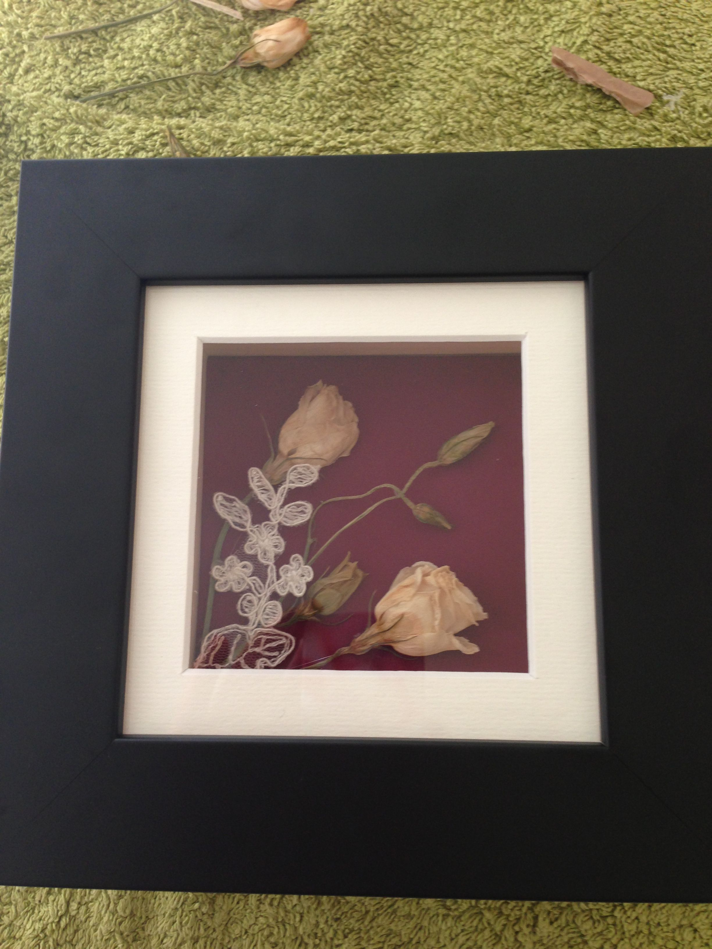 Dried Wedding Bouquet Flowers In Box Frame Homemade Xxxx Dried