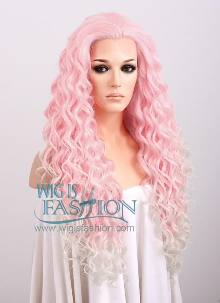 Spiral Curly Pink Blonde Ombre Lace Front Synthetic Wig Lf165 Face