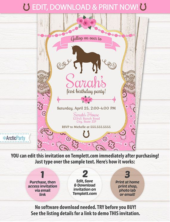 Horse birthday party horse themed birthday invitations horse horse birthday party horse themed birthday invitations horse riding birthday horse party invitations edit now with templett stopboris Gallery