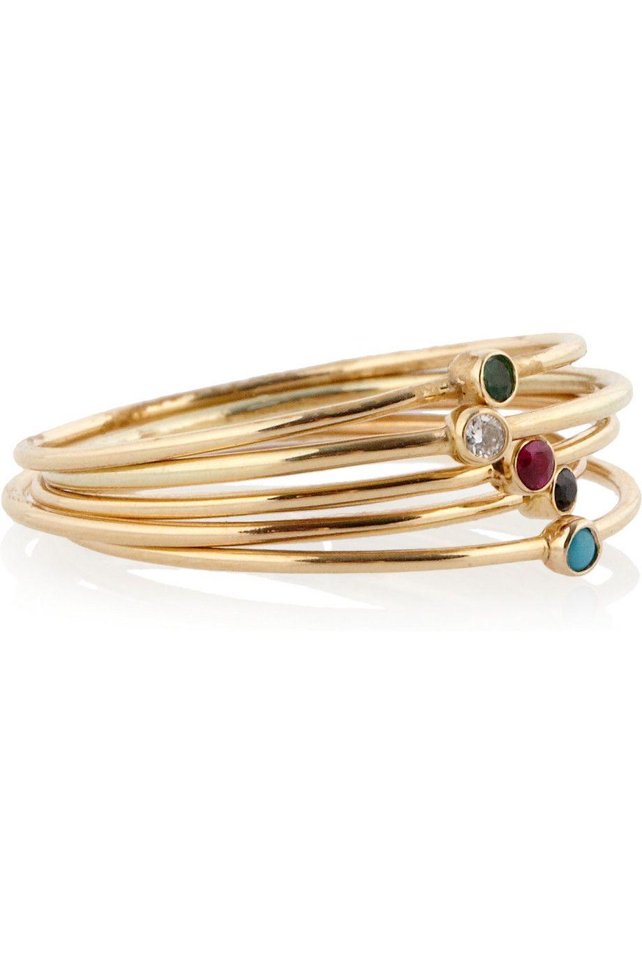 Jennifer Meyer Set Of Five 18-karat Gold Multi-stone Rings cQhzI