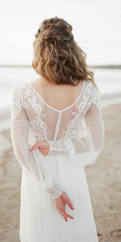 Amazing long sleeve bohemian wedding dress boho wedding dress lace