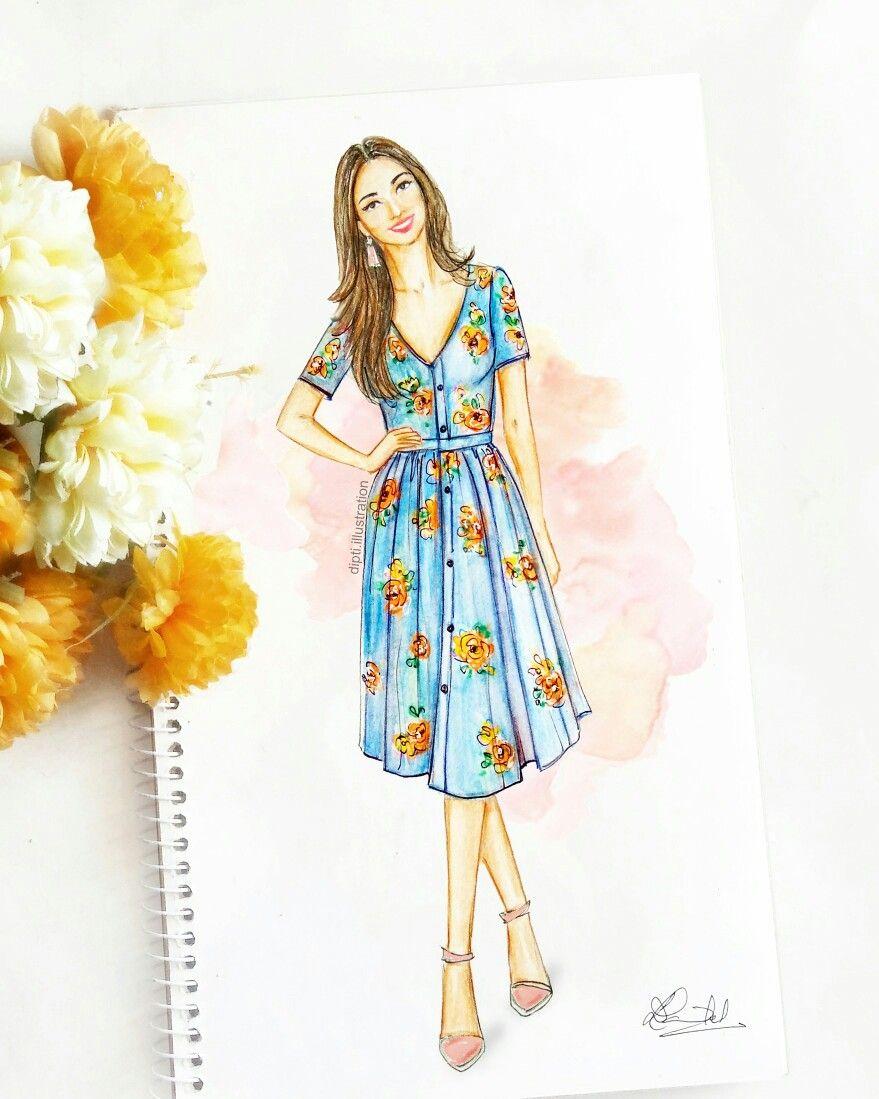 Art Fashionillustration Sketch Summer Floral Style Dresses Fashion Illustration Sketches Dresses Illustration Fashion Design Fashion Drawing Dresses