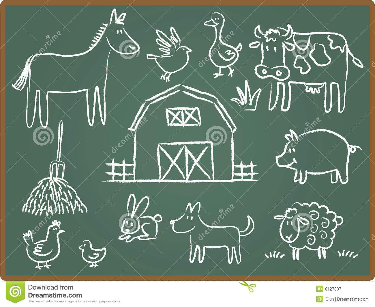 Farm Animal On Chalkboard Cartoon Illustration Farm Animals Stock Photography Free