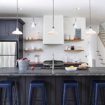 navy kitchen island with navy tolix stools white wood range hood floating shelves farmhouse on farmhouse kitchen navy island id=69708