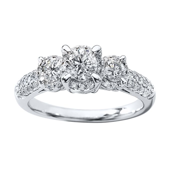 3443340ad Style 990839300, three-stone diamond ring 1 ct tw round-cut 14k white gold,  $2,299.99, Kay Jewelers See more Kay Jewelers engagement rings.