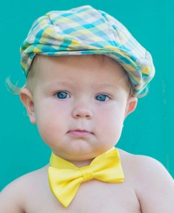 Your little guy will brighten up the room in this sunshine yellow bow tie! With the easy-on, velcro closure and comfy fit, he will actually like dressing up.