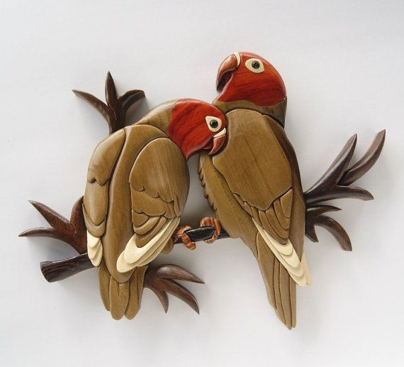 Awesome Love Birds Intarsia Wall Hanging Wood Carving Wooden Bird Decor