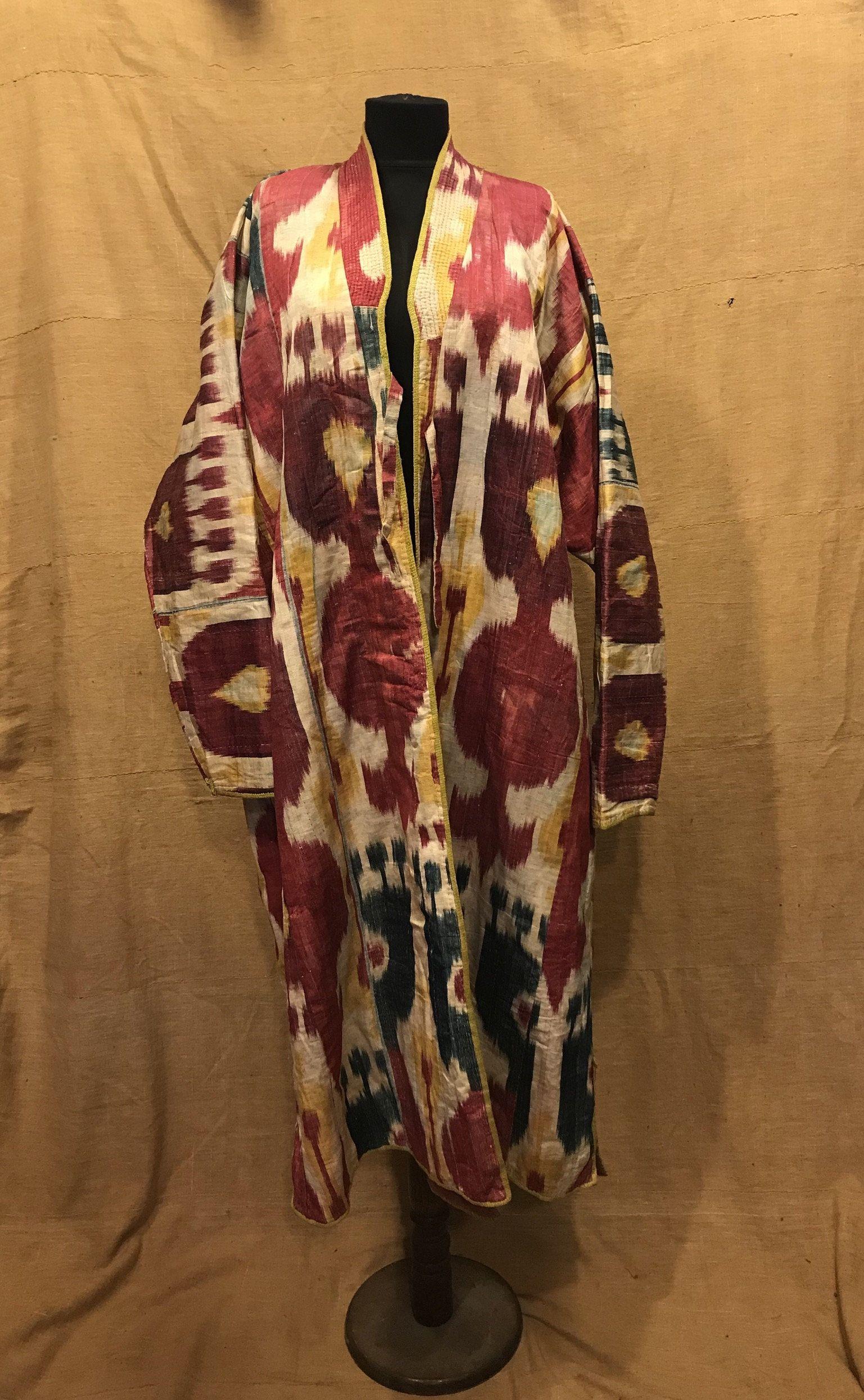 Silk caftan dress coat Uzbekistan dress silk kaftan Boho tribal jacket Asian robe vintage