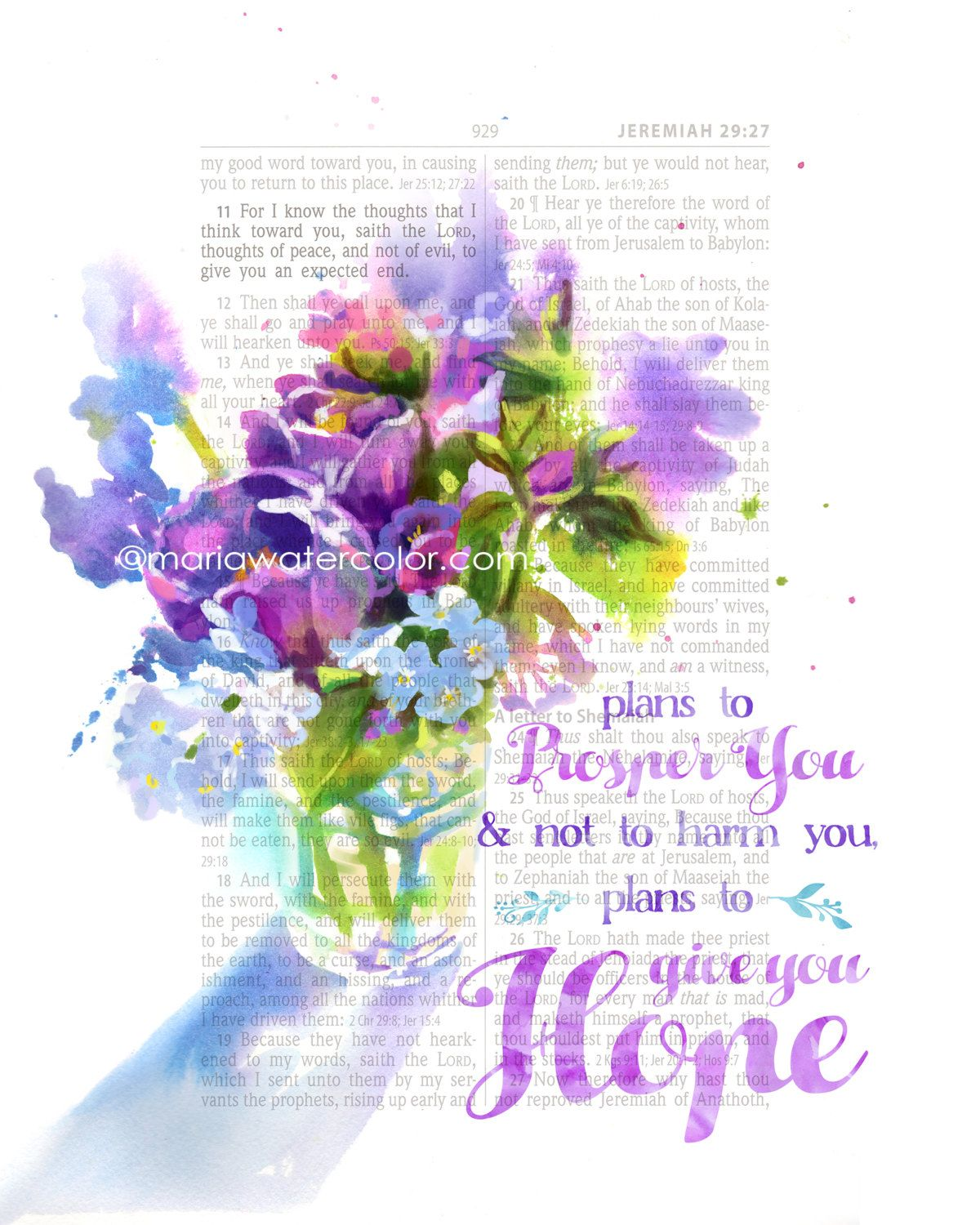 New to MariaWatercolor on Etsy Bible Verse Jeremiah