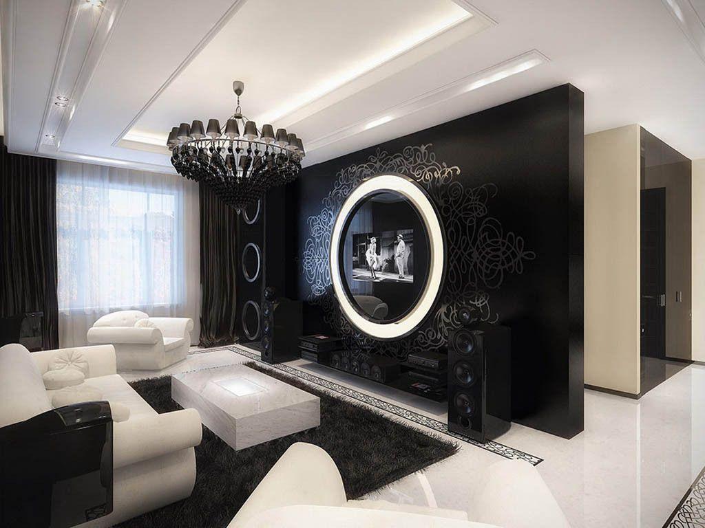 Decorating Black White Living Room Luxury Elegant Contemporary