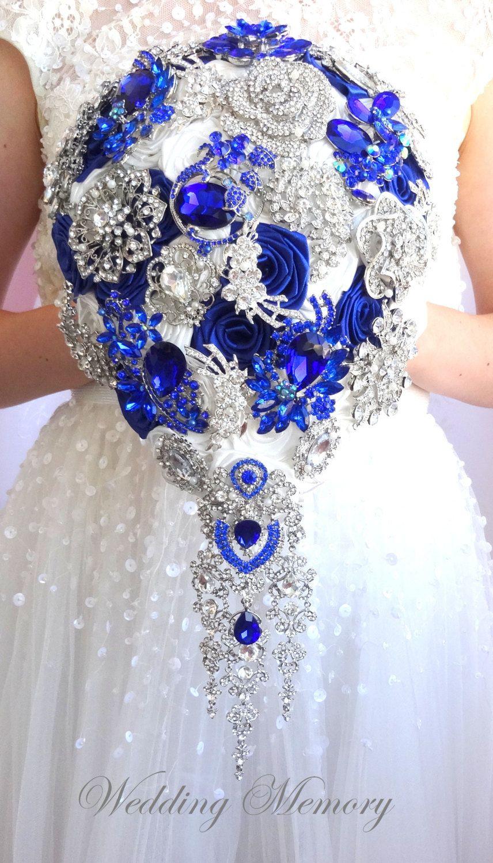Royal Blue Silver Teardrop Cascading Brooch Bouquet Silver