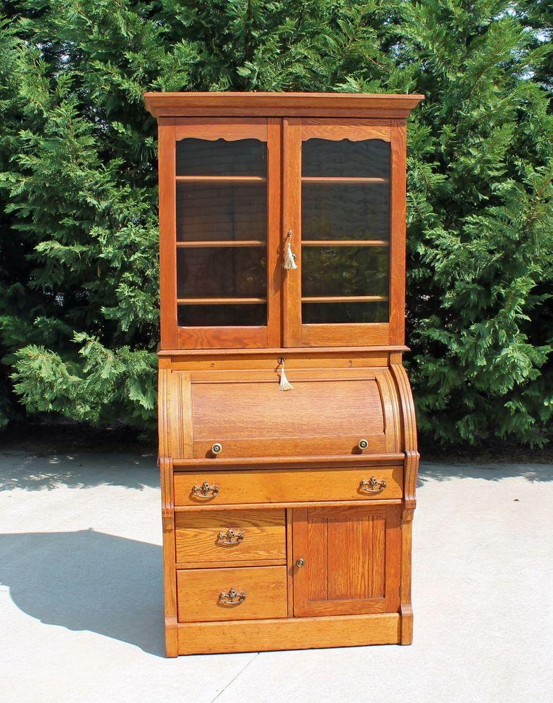 Victorian Oak Cylinder Roll Secretary Desk Bookcase Top W Working Keys C1890 S