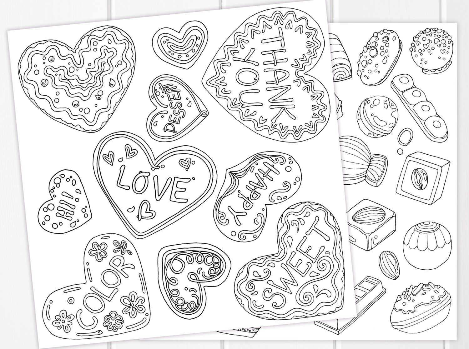 Cookies & Chocolates Coloring Pages PRINTABLE | Sweet Valentine Set ...
