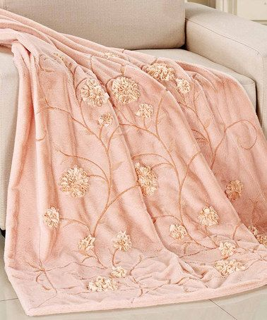 Salmon Floral Embroidered Faux Fur Throw #zulily #zulilyfinds
