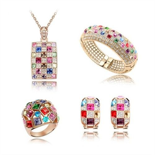 exquisite shine jewellery sets by swarovski elements multicolour