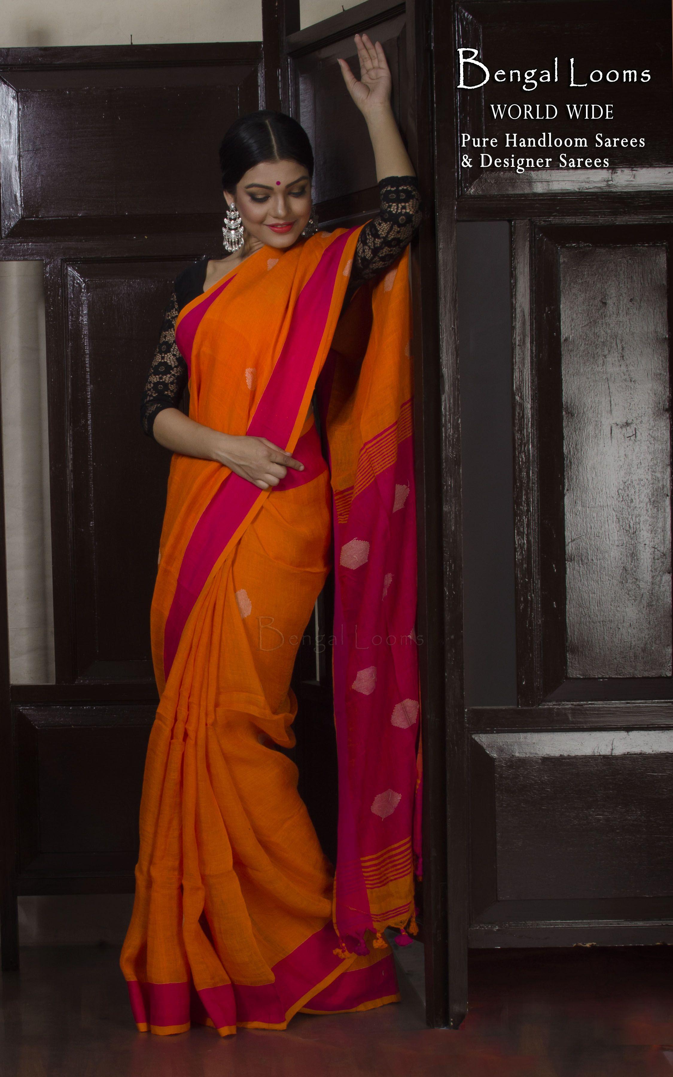 27d33a97b1 Linen Jamdani Saree in Orange and Rani | Linen Sarees | Indian ...