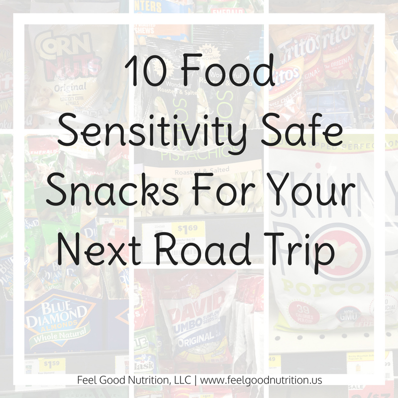 Are you getting ready to travel soon? I made this convenient list of 10 food sensitivity safe snacks for your next road trip!