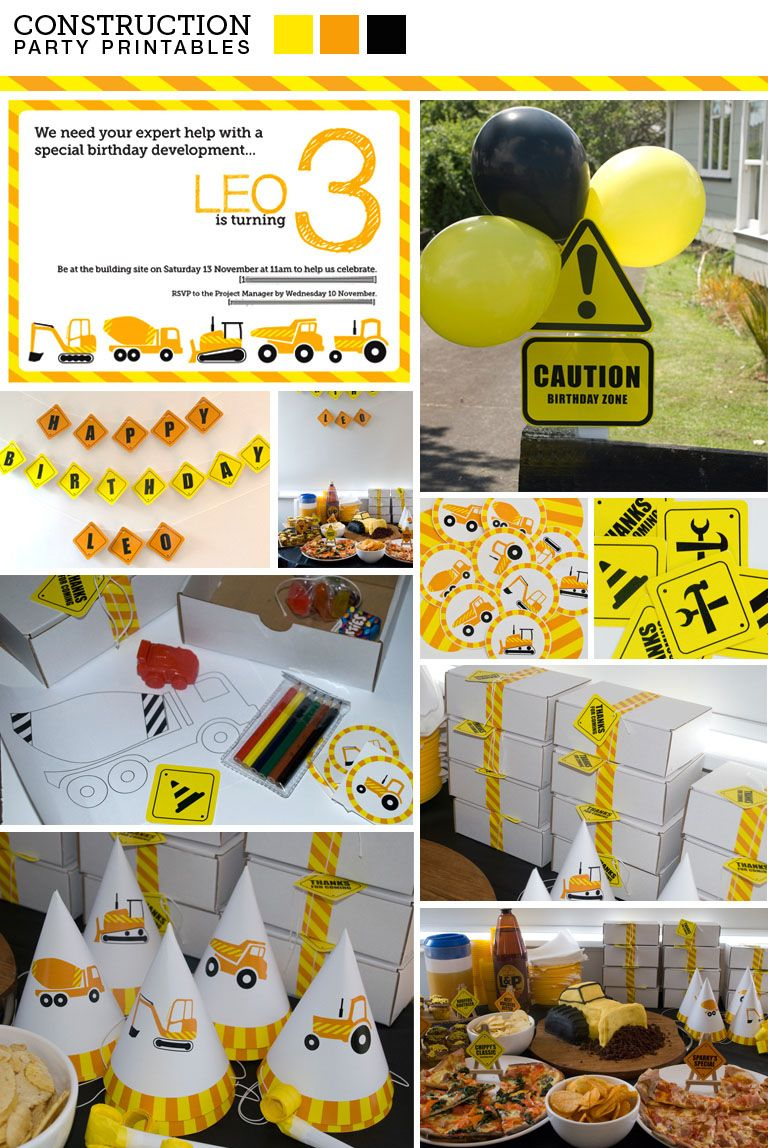 Kids Party Printables Construction Creative Current