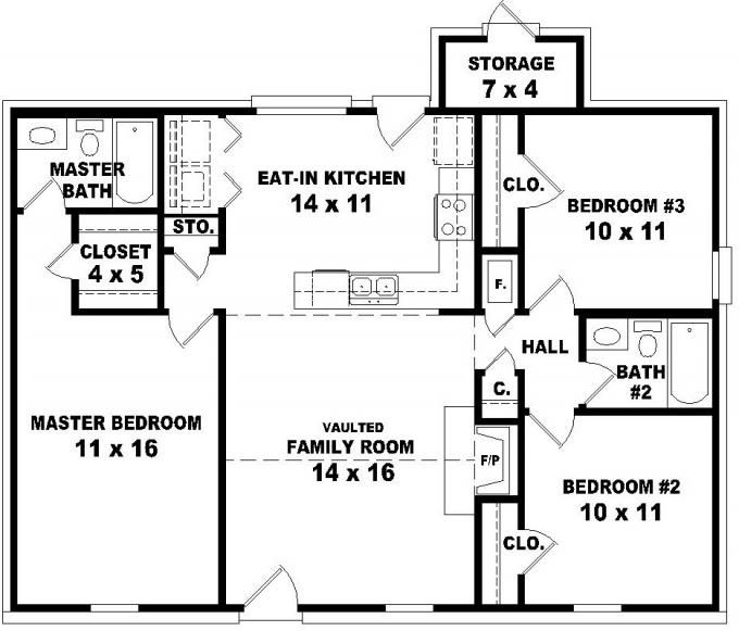 653624 affordable 3 bedroom 2 bath house plan design for Three room house plan