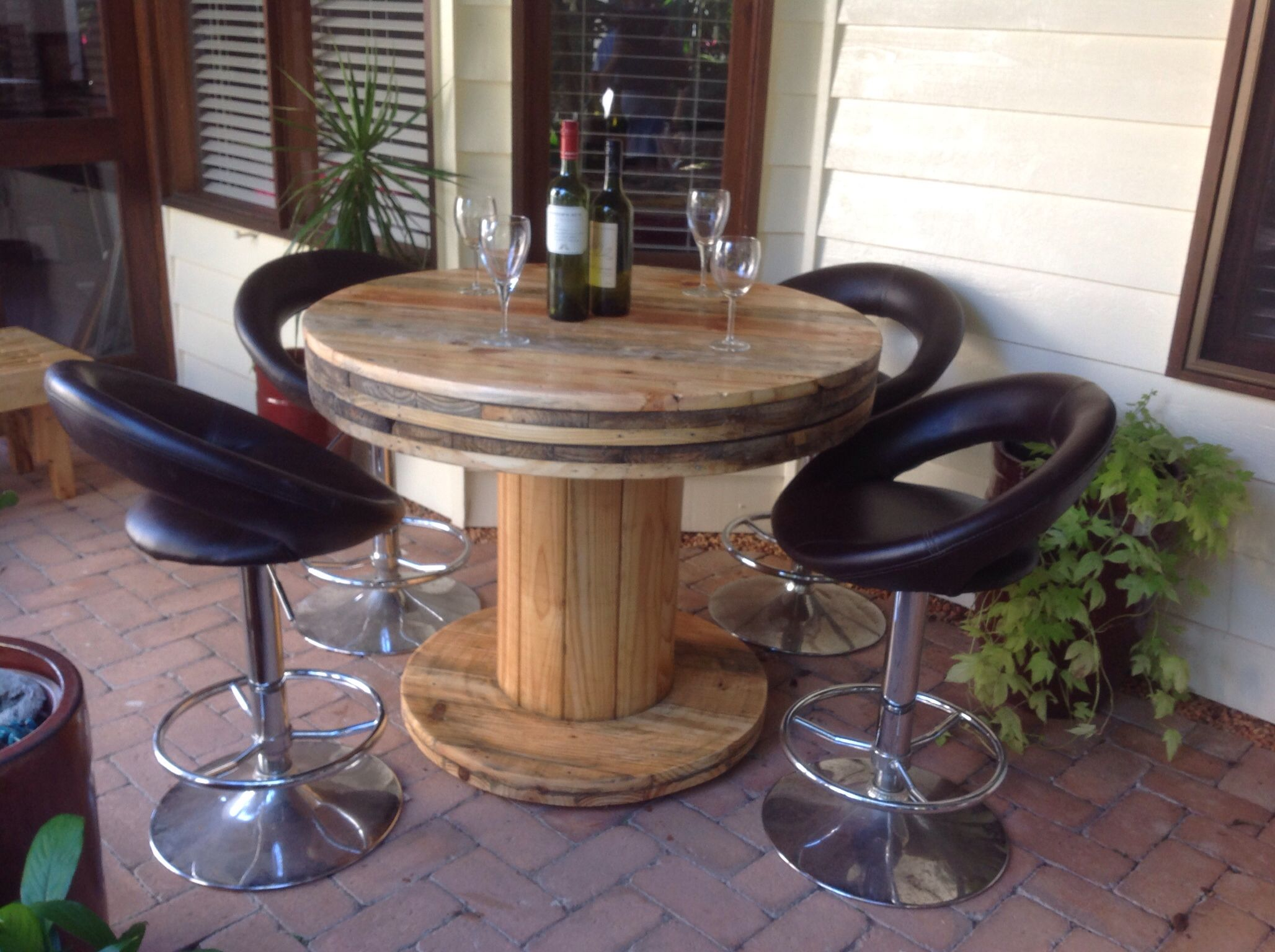Cable spool dinning table made by, Touchwood creations