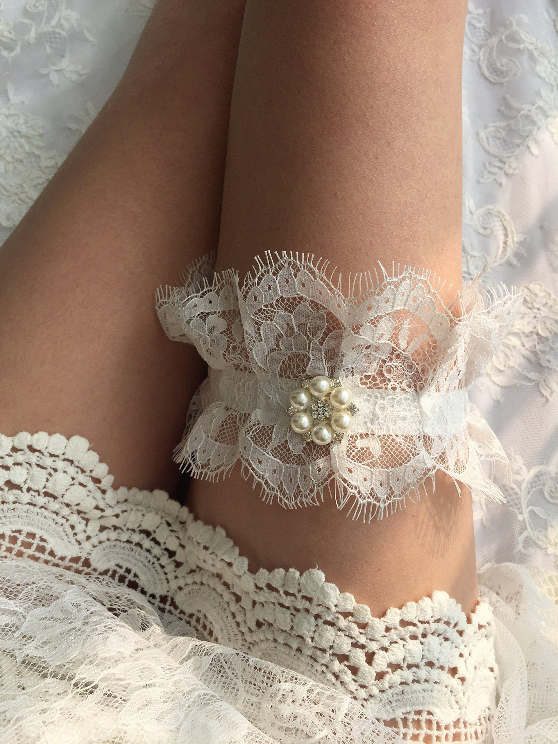 yurong wedding garter krystal pearl lace bridal organza bow full hd diy for mobile high resolution