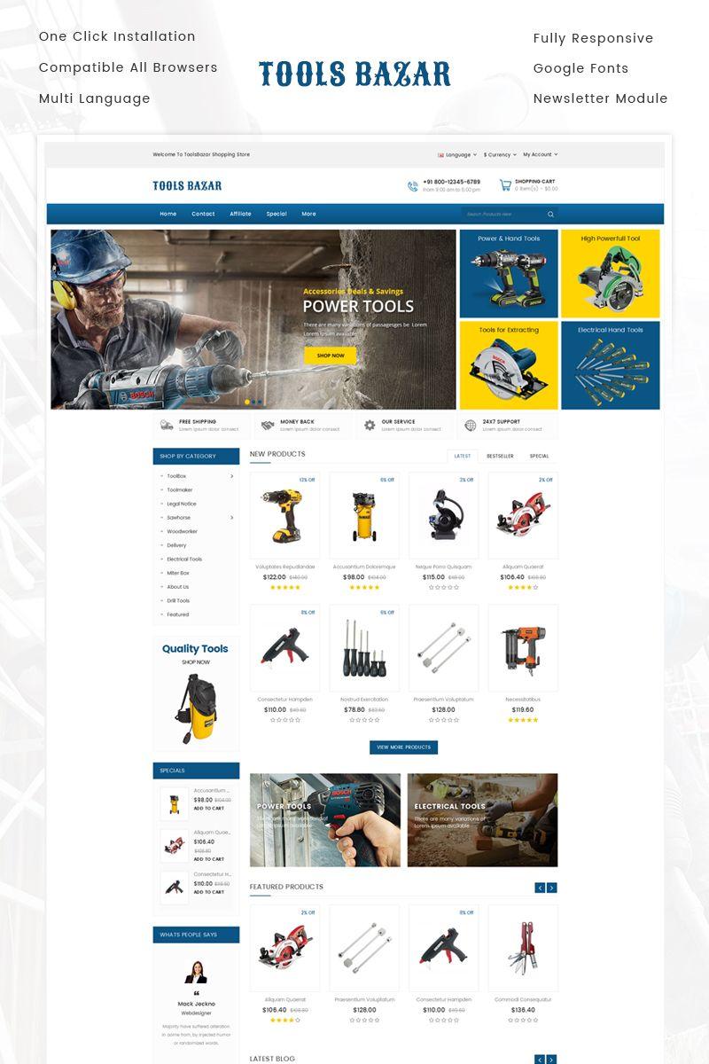 Tools Bazar OpenCart Template 71503 Web design software